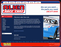 Alien Race Cars website home page